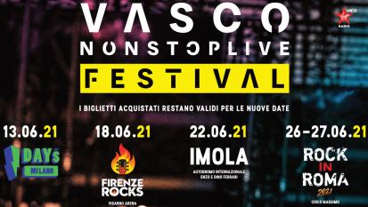 """Vasco: UFFICIALE le nuove date del """"Non Stop Live Festival"""" 2021. Tutte le info e biglietti"""