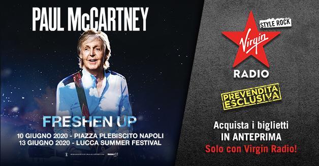 Paul McCartney in concerto a Napoli (10 giugno) e Lucca (13 giugno): biglietti in prevendita esclusiva su virginradio.it dal 22 al 24 novembre. Tutte le info